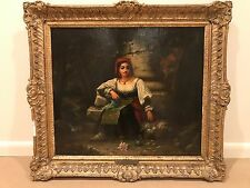 19th Century Italian Woman with Flowers Portrait Antique Oil Painting