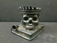 Skull Head Crown on Book w/ Pipe Figural Inkwell Cast Mix Metal