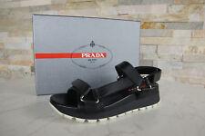 PRADA Gr 36,5 Sandalen Sandals 3X6143 Schuhe Klett schwarz NEU UVP 450 €