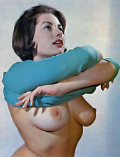 60s Busty Nude Pinup June Palmer removing her sweater 8 x 10 Photograph