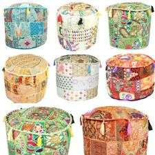 """18"""" Beautiful Round Ottoman Indien Patchwork Pouffe Indien Traditional Cover"""
