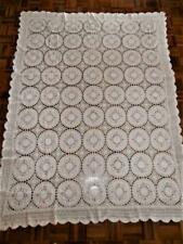 Vintage White Cotton and Crochet Lace Pink Embroidered Tablecloth 210cm x 155cm