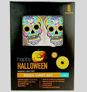 Day of the Dead Sugar Skull Light Set 8 Count Halloween Skull Light Set 5 Feet