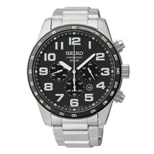 Seiko Solar SSC229 Men's Dress Chronograph Stainless Steel Gray Dial Watch
