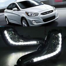 2x White LED Daytime Day Fog Lights DRL Run lamp For Hyundai accent 2010-2014