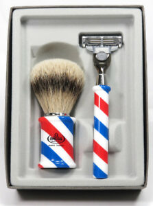 Omega Pure Badger Shaving Brush and Razor Set (In Gift box) M6735.2