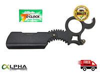 Barber Cut Throat Straight Razor Beard Shaving Knife Stainless Steel Black