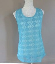 Ladies Sleeveless Vest Top- Turquoise Abstract Pattern- UK Size 18/20- NEW