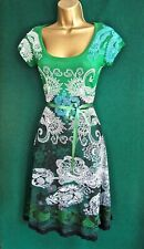 New DESIGUAL 10 12 14 16 Green White GALIN Fit&Flare Stretch Jersey Summer DRESS