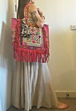 Boho Vintage Banjara Kuchi Embroidered Fringe Leather Travel Bag hippie tribal