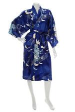 Silk Crane Print Short Blue Japanese Kimono