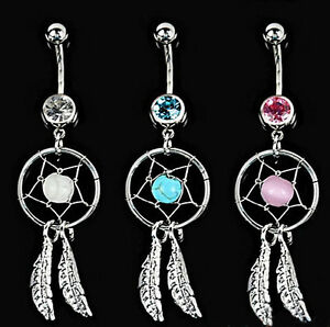 10mm Crystal Indian Dream Catcher Pendant Navel  Body Piercing Jewellery 316L