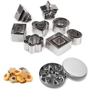 Geometric Shaped Cookie Cutter Set 24 Baking Cutter Metal Biscuit Cutter Molds^