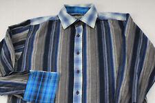 RAIDER Vtg Retro Disco Cufflink Blue Striped Button Shirt Plaid Trim Youth XL 20