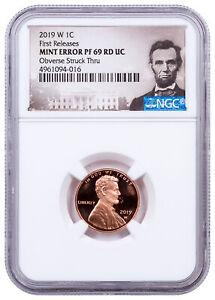 2019 W Proof Lincoln Cent Obv Struck Thru NGC PF69 Mint Error FR CPCR2 SKU64019