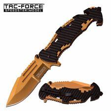 TAC-FORCE Gold Black Serrated ASSISTED Folding LINERLOCK Knife New! TF-932BG