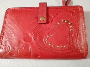 """Fossil Red Leather Trifold Wallet 5"""""""