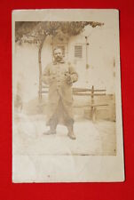 PORTRAIT DE SOLDAT POILU A LA PIPE GUERRE 14 18 CARTE PHOTO R60
