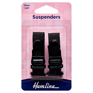 Hemline Black Suspenders 15 x 170mm