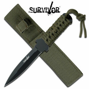 """SURVIVOR HK-7521 OUTDOOR FIXED DOUBLE EDGE BLADE KNIFE 7"""" OVERALL PARACORD"""
