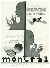 Publicité ancienne  Montral  le rouge à lèvres la montre à poudre 1930