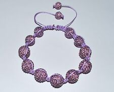 Swarovski Crystal Amethyst 12mm Pave Ball Beads Macrame Bracelet  AS88