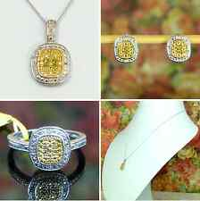 Platinum / 925 Sterling Yellow & White Diamond Ring Earring Necklace Pendant Set