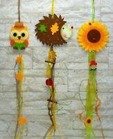 Hängedeko Dekohänger Fensterdeko Türdeko Herbst Eule Igel Sonnenblume Filz 70 cm