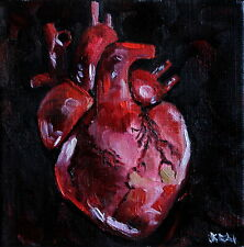 Original oil hand painted picture black heart art gothic horror