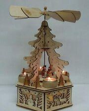 Traditional Wooden Christmas Tree Windmill / Tea Light Holder - Holiday Decor