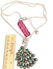 "Betsey Johnson Green Enamel Crystal Peacock Charm Pendant Chain Necklace RGP 28"""