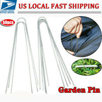 """50 Pack 12"""" U Shaped Garden Staples Securing Stable Fabric Pins Pegs Sod Stakes"""