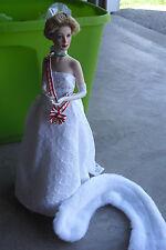 "Franklin Mint Porcelain Cloth Princess Grace Coronation Sample Doll 16"" Tall"