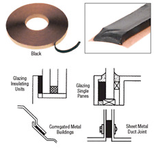 "CRL Black 1/8"" x 3/8"" Butyl Architectural Glazing Tape - 1 Roll - GT204"