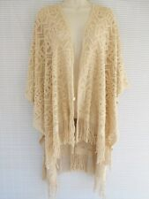 Knit Lace Pattern Open Shawl Wrap Poncho Cape Tassel Coat One Size Light Beige