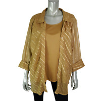 Club Z Collection Womens 2Fer Top Plus Size 2X Collared Striped 3/4 Sleeve Gold