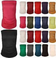Womens Strapless Plain Bandeau Boobtube Top Ladies Side Ruched Bra Crop Vest Top
