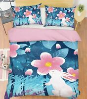 3D Rabbit Flower ZHUA1043 Bed Pillowcases Quilt Duvet Cover Set Queen King Zoe