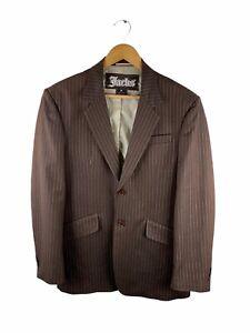 Jacks Button Up Blazer Suit Jacket Mens Size M Brown Striped Lined Collar Pocket