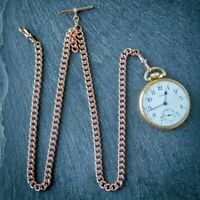 Extra Long Rose Gold Plated Pocket Watch Double Albert Chain / Necklace