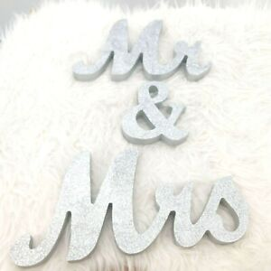 Mr & Mrs Sign Glitter Wedding Decoration Party Table Wood