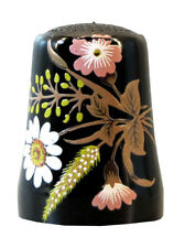 Fingerhut de Opal negro vaso de cristal-estampado flores decoración-ae 776