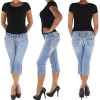 Damen Capri 3/4 Jeans Shorts Bemuda Kurze Hüft Stretch Hose 8772