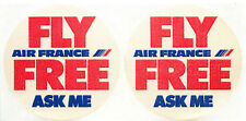 Fly AIR FRANCE for Free (ASK ME) - Pair of 2 Old Airline Luggage Labels / Decals