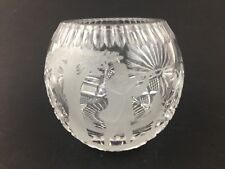 Bohemia Lead Crystal Small Bowl Vase Etched Hunting Pheasant Duck Shoot Scene