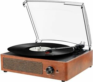 DIGITNOW 3 Speed Bluetooth AUX Turntable With Built In Speakers M490 - Brown