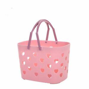 Heart Cute Plastic Bath Organizer Bin Shower Tote with Handle Storage Basket