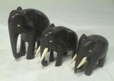 3 afrikanische ELEFANT EBENHOLZ Schnitzereien Figur Skulptur Okawango Gruppe