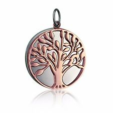 NEW Rose Gold Ion Plated 316L Stainless Steel Tree Of Life Double Disc Pendant