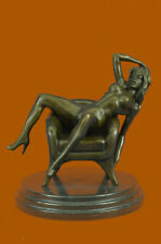 Genuine Bronze Nude Naked Lady Girl Woman Female Relaxing Sculpture Figurine Art
